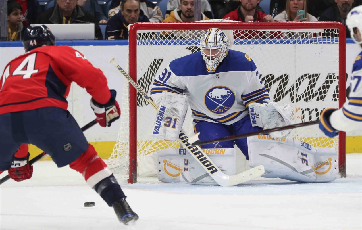 Chad Johnson starts in goal today for the Sabres against Boston. (James P. McCoy/Buffalo News)