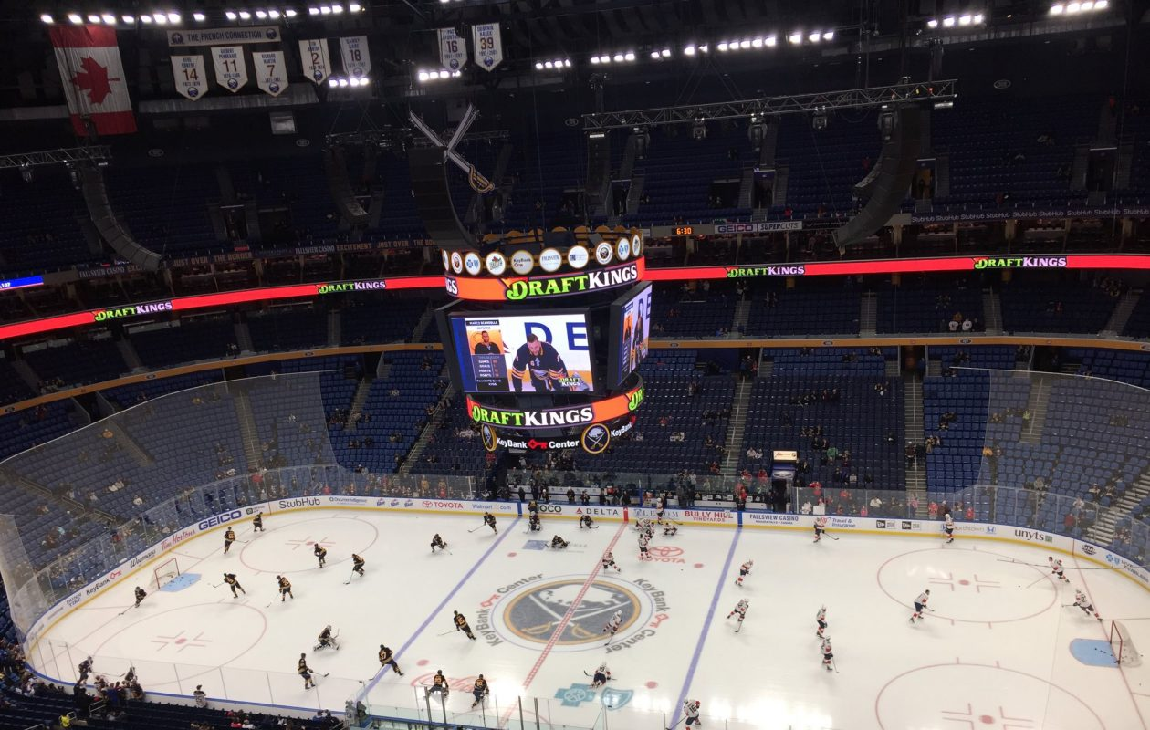 The Buffalo Sabres warm up before facing the Florida Panthers. (Mike Harrington/Buffalo News)
