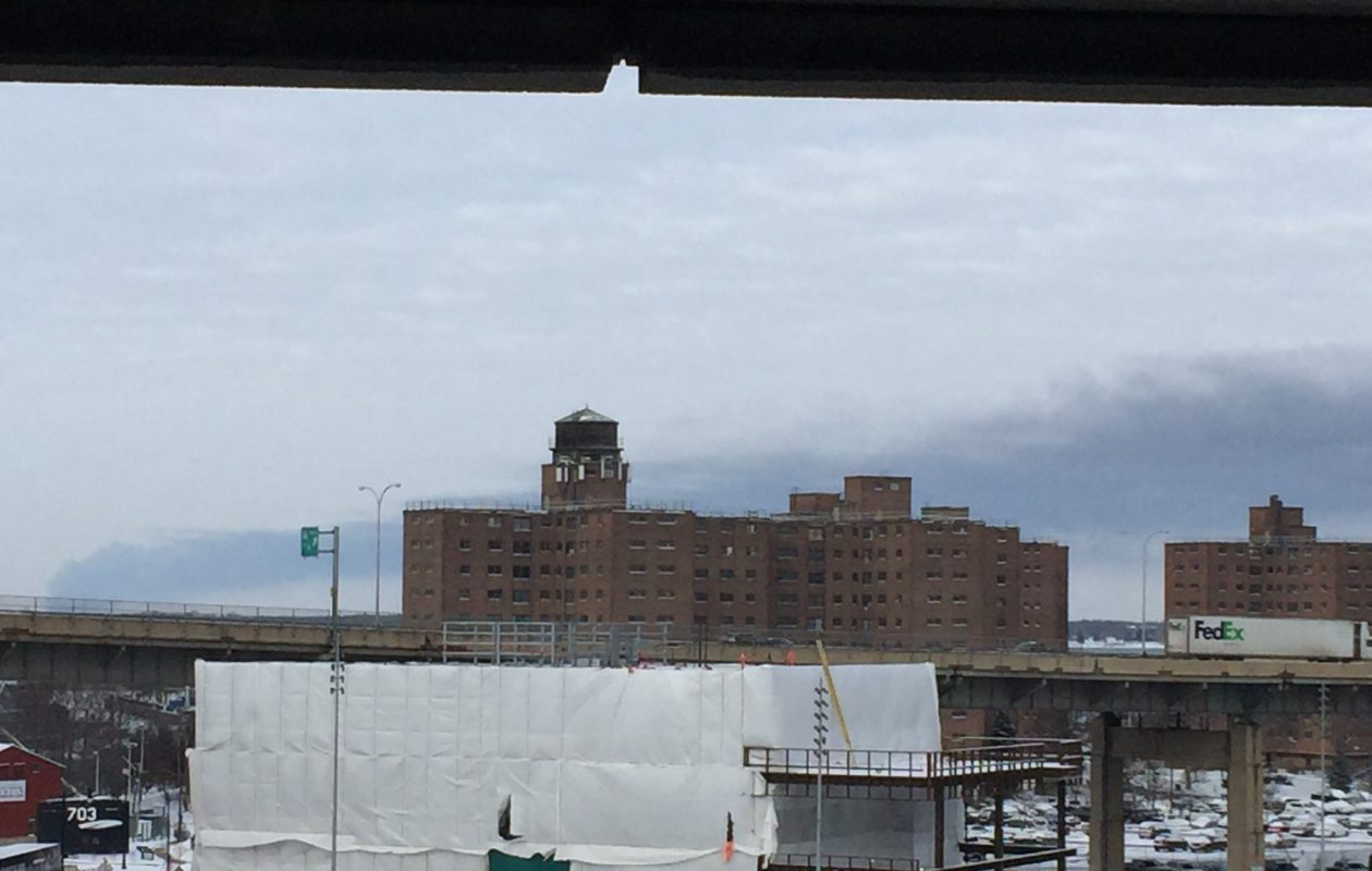 Smoke from a large industrial fire at a Port Colborne, Ont. vinyl company could be seen from downtown Buffalo. (Maki Becker/Buffalo News)