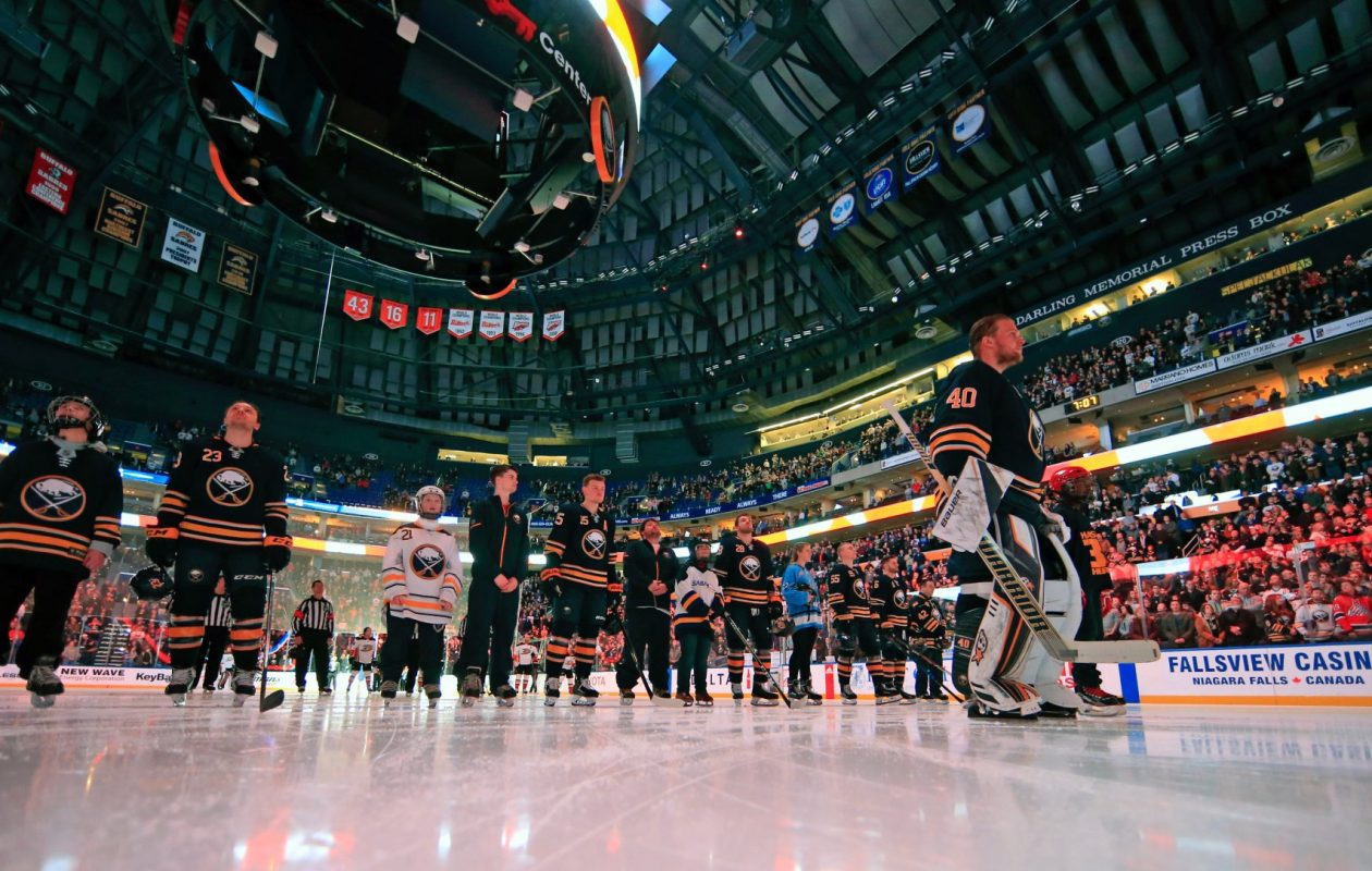 'Hockey is for Everyone Night' featured skaters from six local organizations joining the Sabres on the ice for the national anthems. (Harry Scull Jr./Buffalo News)