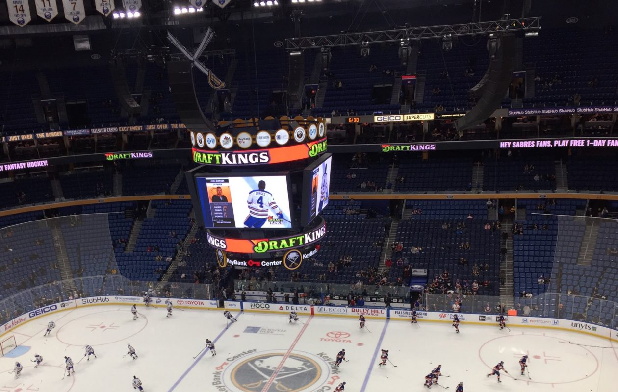 The Sabres and Islanders warm up at KeyBank Center. (Mike Harrington/Buffalo News)