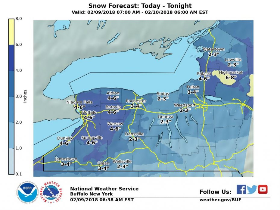 Up to a half-foot of more snow is forecast across much of Western New York through early Saturday. (NWS Buffalo)