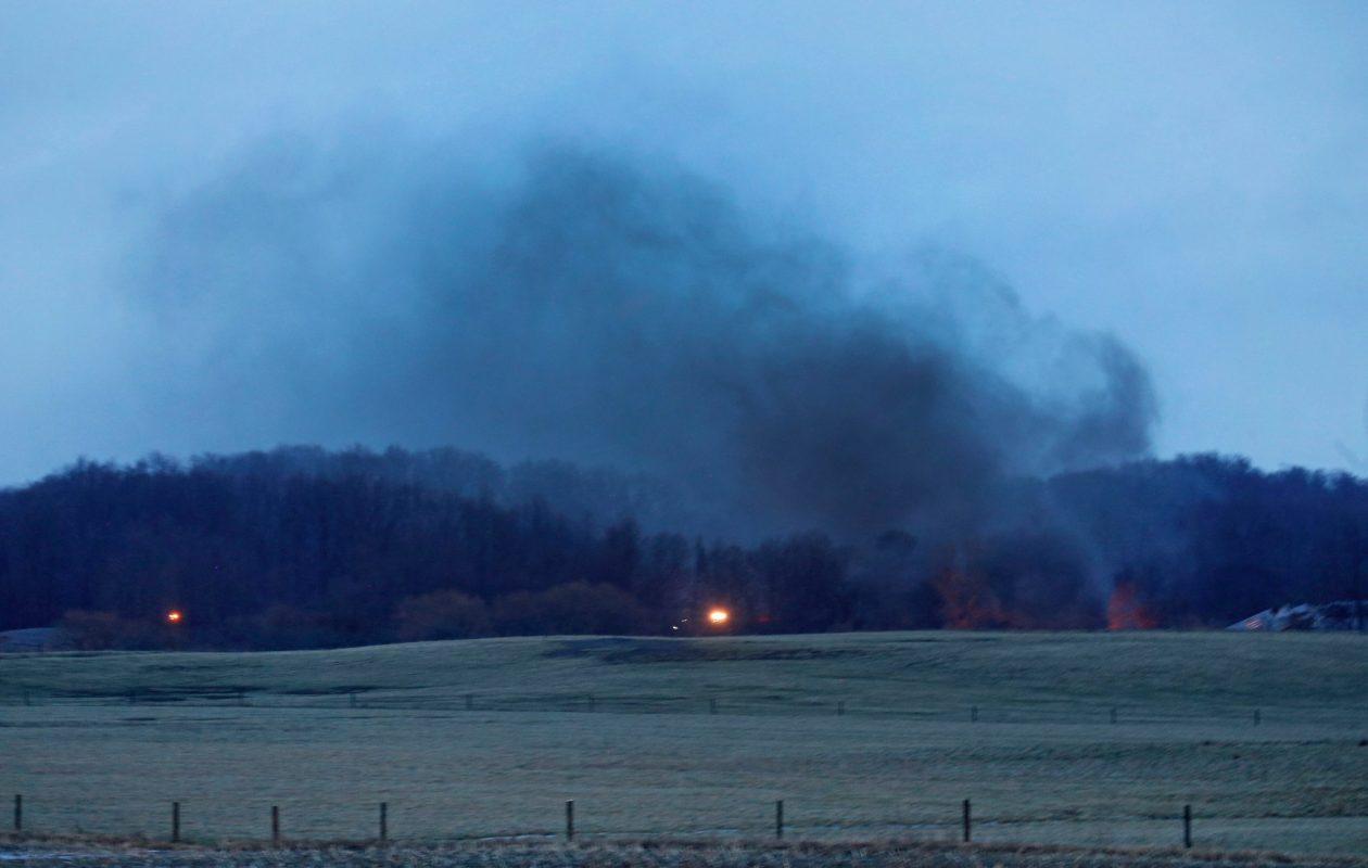 Smoke from a train derailment in Attica is seen from the entrance of Attica High School on Thursday, Feb. 15, 2018. (Robert Kirkham/Buffalo News)
