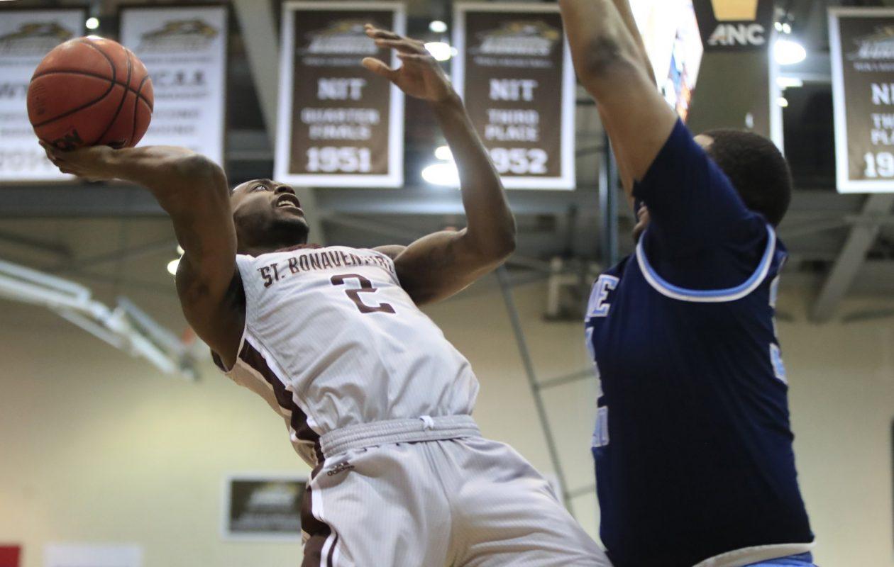 St. Bonaventure's Matt Mobley shoots against Rhode Island. (Harry Scull Jr./Buffalo News)