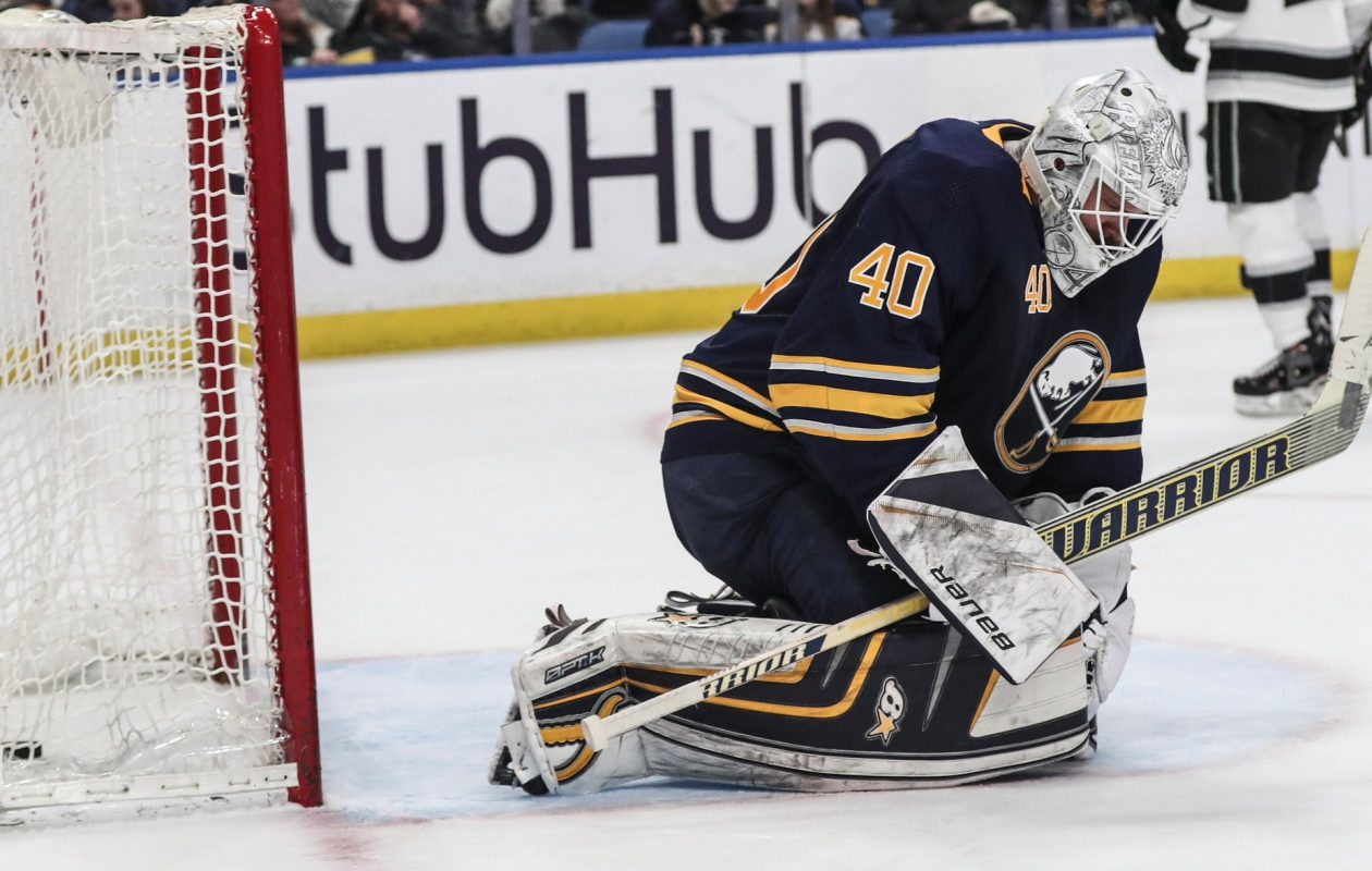 Sabres goaltender Robin Lehner allowed four goals on 30 shots though two periods, then watched the third from the bench. (James P. McCoy/Buffalo News)