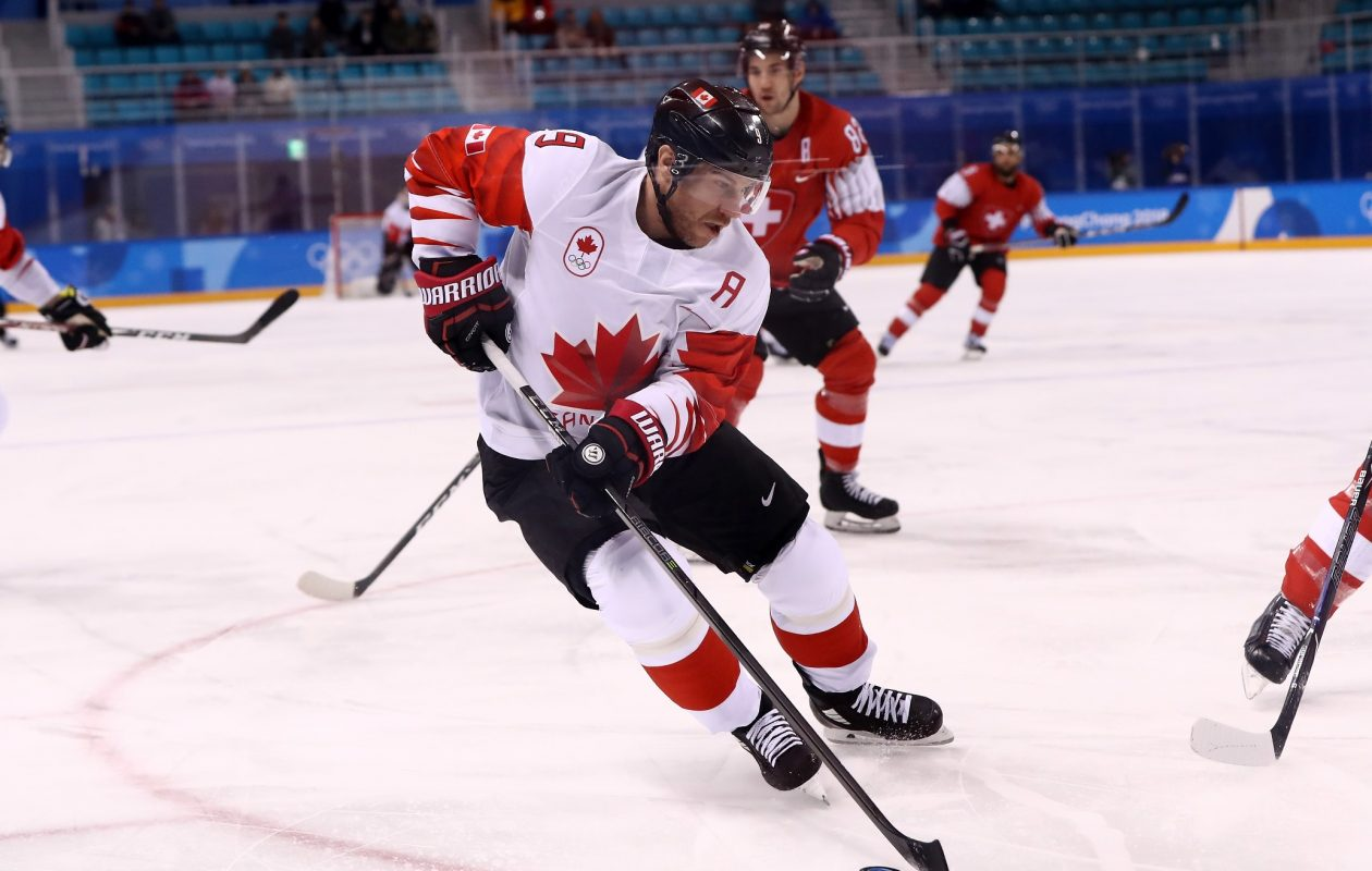 Derek Roy of Canada controls the puck against Switzerland during the Men's Ice Hockey Preliminary Round Group A game on Day 6 of the PyeongChang 2018 Winter Olympic Games at Kwandong Hockey Centre on Feb. 15, 2018, in Gangneung, South Korea. (Ronald Martinez/Getty Images)