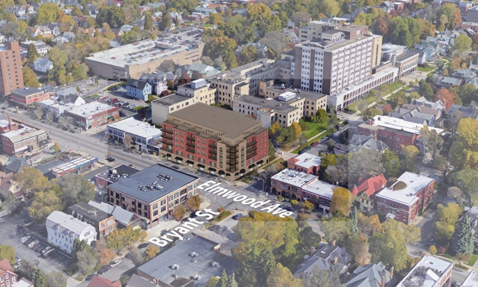 Sinatra & Co. Real Estate and Ellicott Development Co. proposed a six-story building with apartments and retail at Elmwood Avenue and Bryant Street.