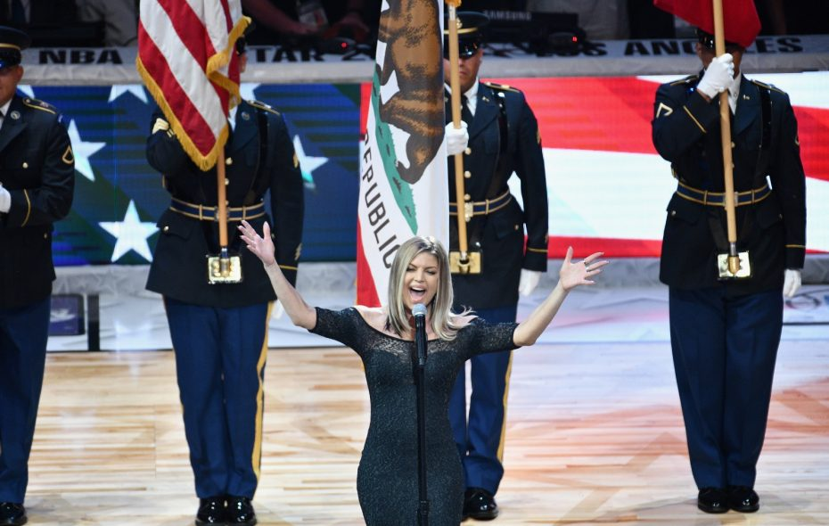 "Jeff Miers says that Fergie butchering the national anthem is really a case of ""no harm, no foul."" (Allen Berezovsky/Getty Images)"
