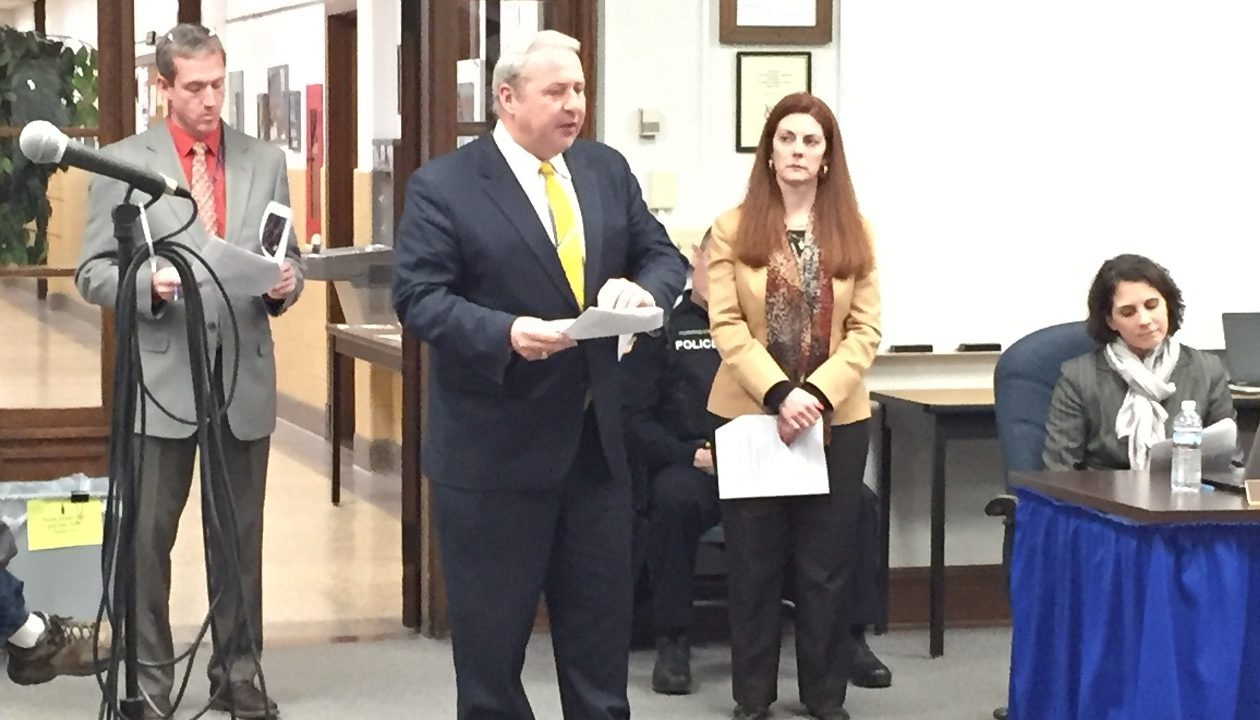 Frontier Central High School interim Principal James P. Newton, center, discusses plans for dealing with altercations at the high school. He spoke during Tuesday's School Board meeting. At left is Assistant Principal Bill McDonagh; to the right is Assistant Principal Courtney Charleson.
