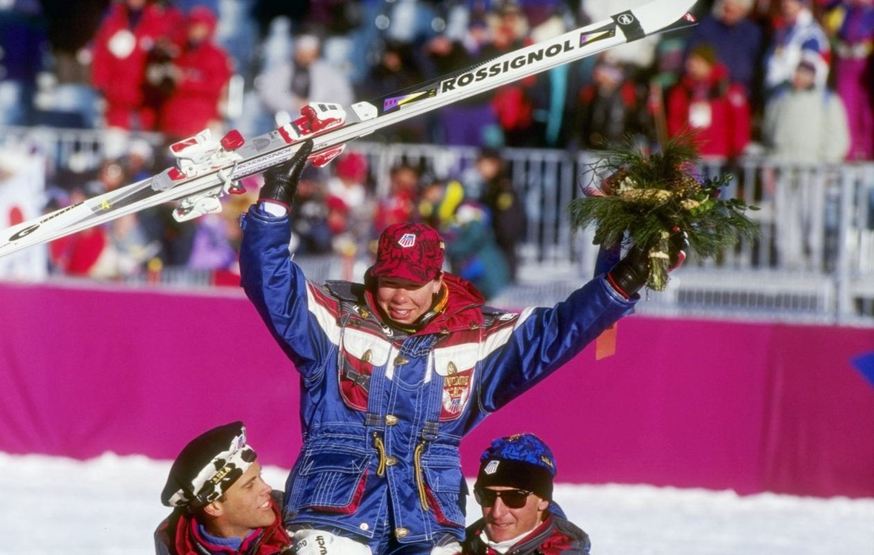 Diann Roffe waves to the crowd after winning the women''s Super G Slalom competition during the 1994 Olympic Games in Lillehammer, Norway. (Allsport/Getty Images)