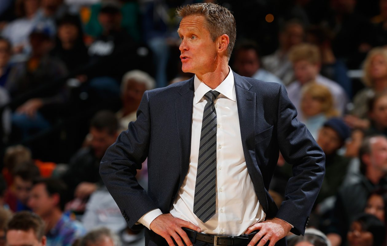 Head coach Steve Kerr of the Golden State Warriors  kicked backed and enjoyed most of Monday's game from a distance. (Doug Pensinger/Getty Images)