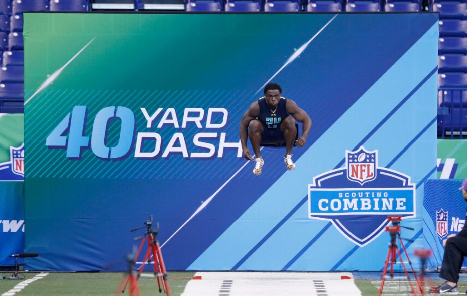 Outside linebacker Jabrill Peppers of Michigan prepares to run the 40-yard dash at the 2017 NFL Combine. (Getty Images)