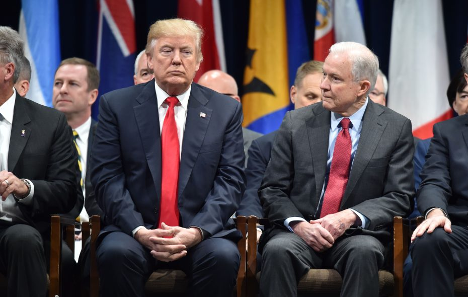 """Donald Trump ordered Jeff Sessions to address a """"bump stock"""" ban.(NICHOLAS KAMM/AFP/Getty Images)"""