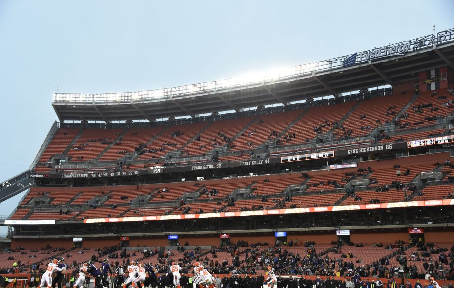 The Cleveland Browns, with a sparse crowd at their Dec. 17, 2017, game against the Baltimore Ravens at FirstEnergy Stadium, will have two top-10 picks in the NFL Draft.  (Photo by Jason Miller/Getty Images)