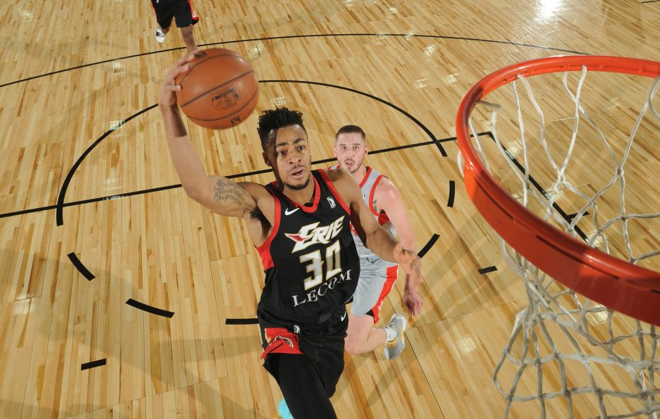 Jaylen Morris goes to the basket against the Rio Grande Valley Vipers during NBA G-League Showcase Game 21 on January 12, 2018 at the Hershey Centre in Mississauga, Ont. (Photo courtesy of the Erie Bayhawks)