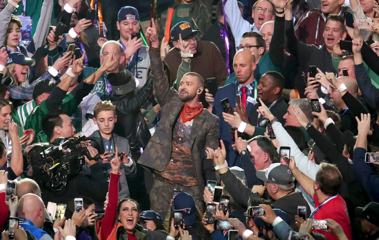 Justin Timberlake's halftime performance included a dialed-back tribute to Prince. (Getty Images)
