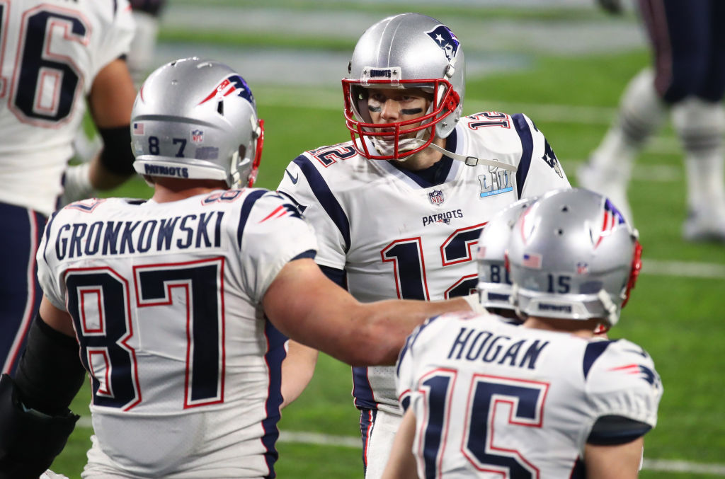 Rob Gronkowski and Tom Brady celebrate during the third quarter. (Getty Images)