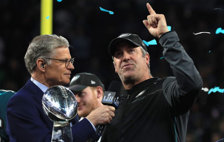 Cris Collinsworth made some dubious points about Eagles head coach Doug Pederson (right), being interviewed by NBC's Dan Patrick after the Super Bowl. (Getty Images)