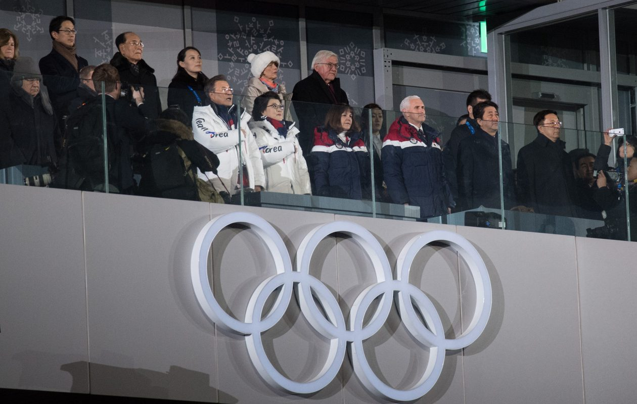 Vice President Vice President Mike Pence (front row, 2-R) watches the opening ceremony of the PyeongChang Winter Olympics along with Kim Yo-jong, the sister of North Korean leader Kim Jong-Un (back row, 1-L), Kim Yong Nam, North Korea's ceremonial head of state (top row-L), Japanese Prime Minister Shinzo Abe (front row 1-R) and South Korean president Moon Jae-in (front row-L) on February 9, 2018 in PyeongChang, South Korea. Vice President Mike Pence is on day two of a three day visit to South Korea and will lead the U.S delegation in the opening ceremony of PyeongChang Winter Olympics.  (Photo by Carl Court/Getty Images)