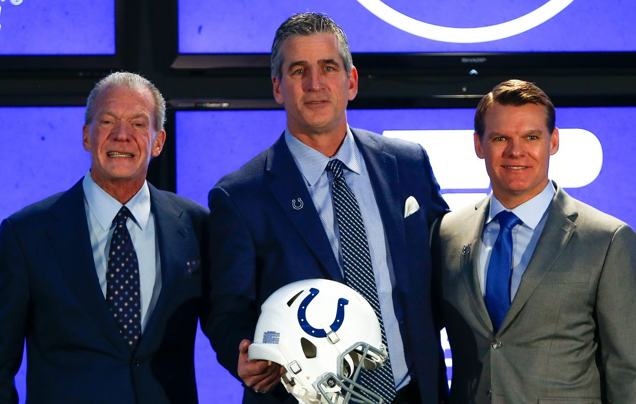 Colts owner Jim Irsay, head coach Frank Reich and general manager Chris Ballard. (Michael Reaves/Getty Images)