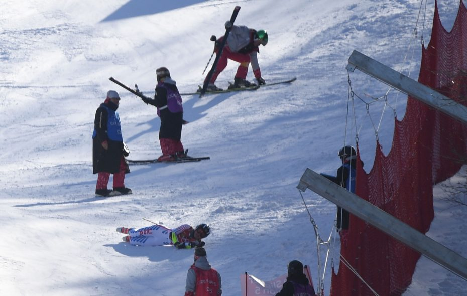 Tricia Mangan crashes as she competes in the Women's giant slalom. (Martin Bernetti/AFP/Getty Images)