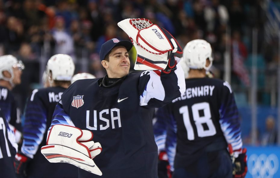 David Leggio celebrates after Team USA beat Slovakia 2-1 (Jamie Squire/Getty Images)
