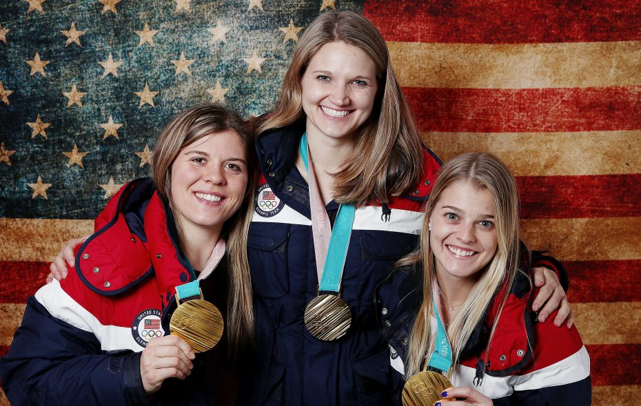 Getzville's Emily Pfalzer, right, has joined Hannah Brandt, left, and Lee Stecklein on a celebratory tour since winning Olympic gold with the U.S. women's hockey team last week. (Getty Images)