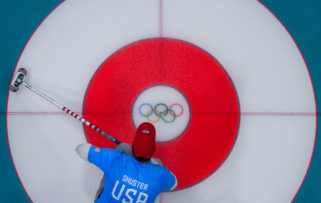USA's John Shuster waits for the stone during the curling men's gold medal game between the USA and Sweden during the Pyeongchang 2018 Winter Olympic Games at the Gangneung Curling Centre in Gangneung on February 24, 2018. (FRANCOIS-XAVIER MARIT/AFP/Getty Images)
