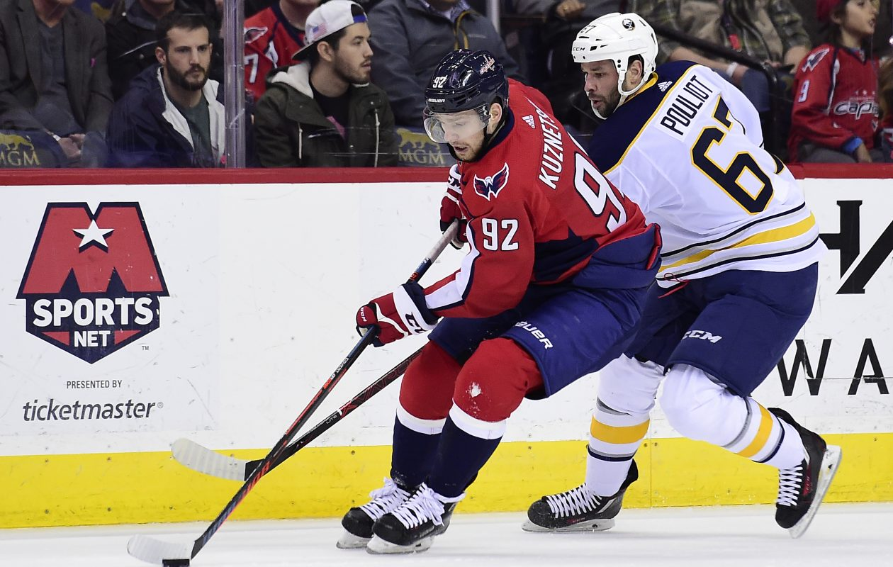Evgeny Kuznetsov of the  Capitals controls the puck against Benoit Pouliot of the Sabres in the first period  (Getty Images).