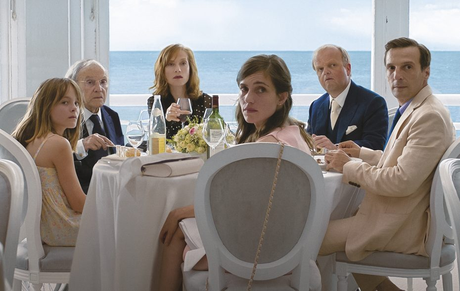 """Fantine Harduin left, Jean-Louis Trintignant,  Isabelle Huppert, Laura Verlinden, Toby Jones and Mathieu Kassovitz star in """"Happy End."""" (Films du Losange, Courtesy of Sony Pictures Classics)"""