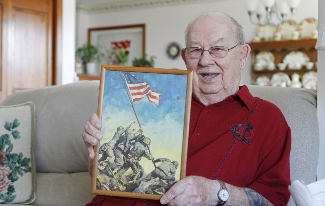 World War II veteran Holmes W. 'Hoops' Cline at his home in Orchard Park on April 12, 2012. (Mark Mulville / Buffalo News)