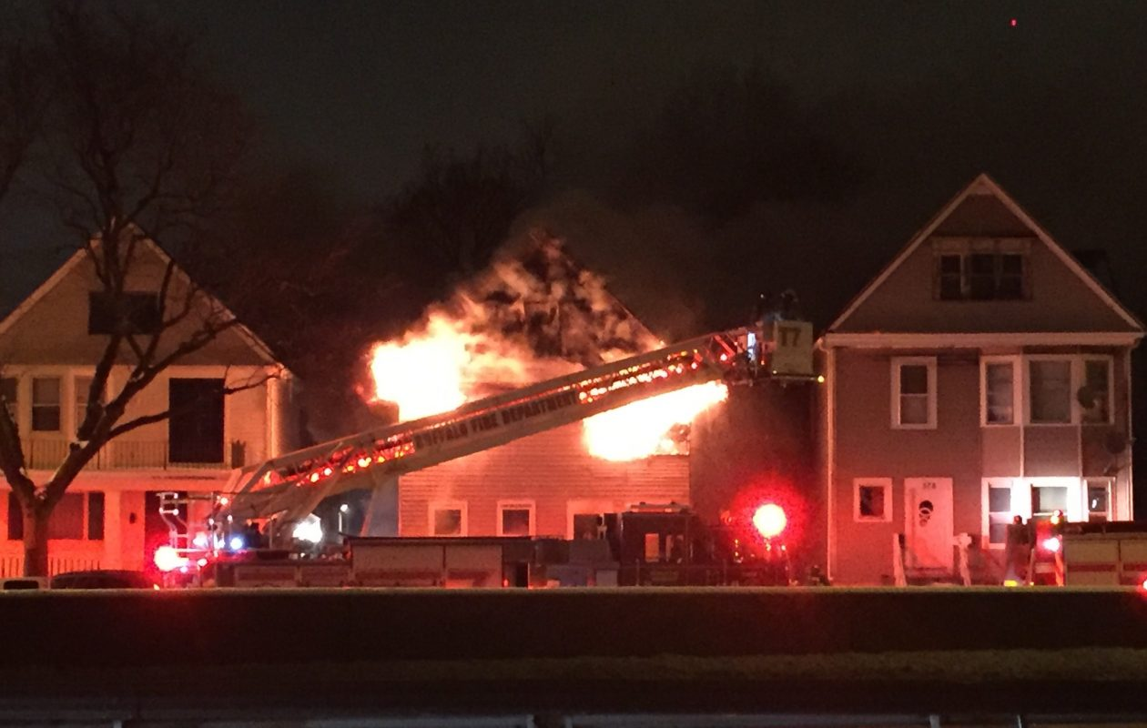 Buffalo fire crews responded to a fast-moving blaze at 372 Humboldt Parkway Sunday night. (Photo by Ellen Przepasniak)