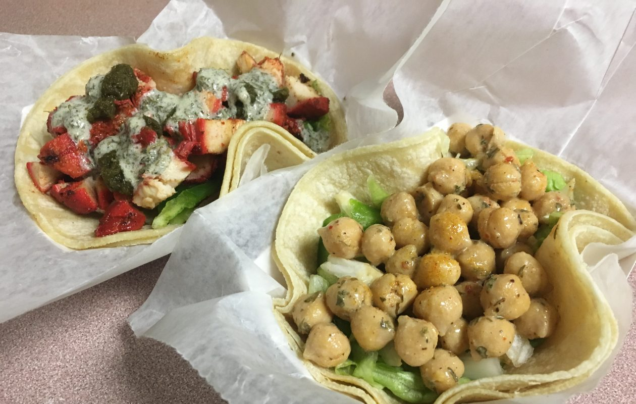 Chicken tikka and chana masala (chickpea) tacos. A delicious mashup of bold Indian flavors atop a Mexican foundation. (Phil Wagner/Special to The News)