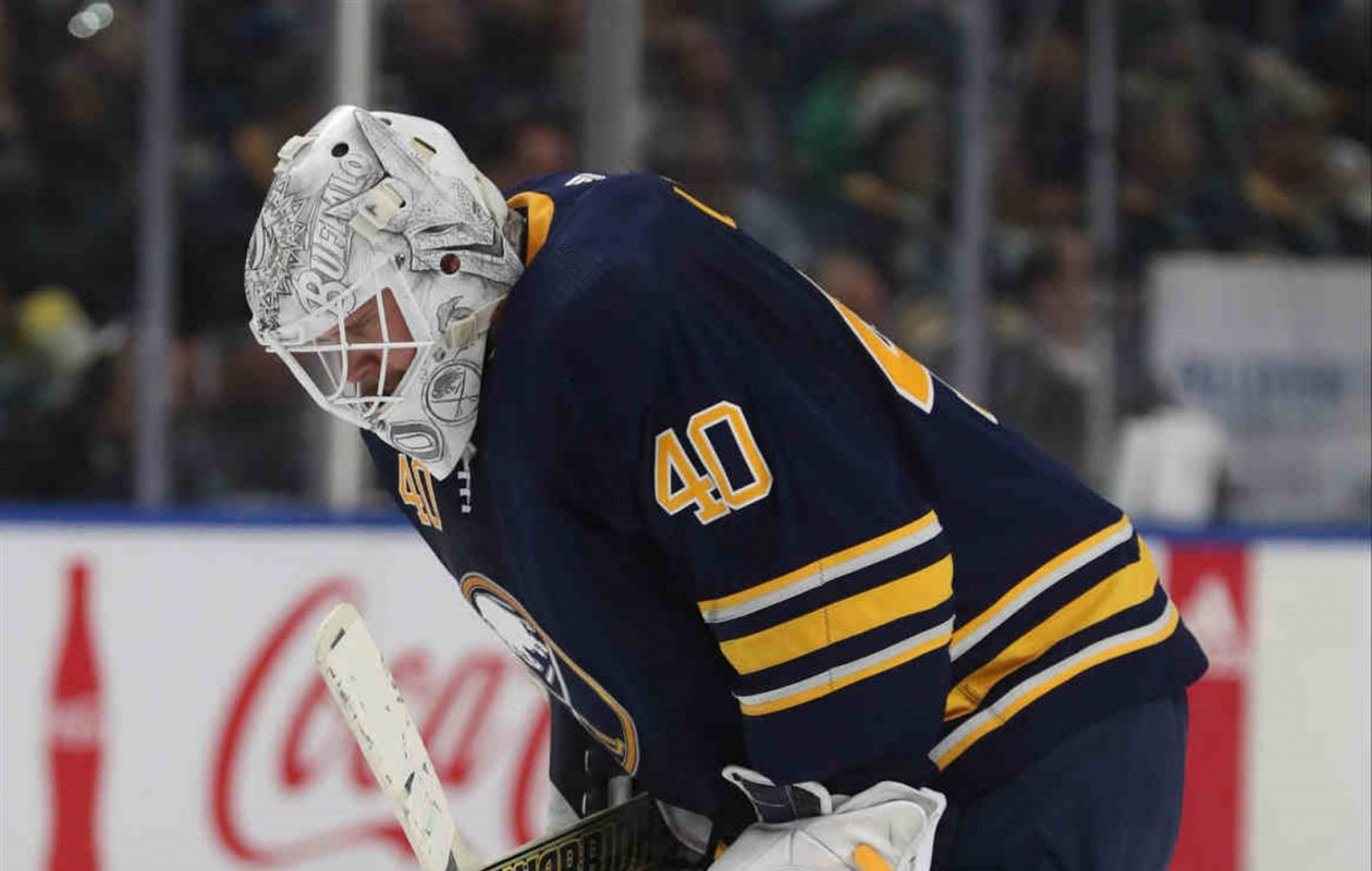 Sabres goaltender Robin Lehner is day-to-day with a lower-body injury. (James P. McCoy/Buffalo News)