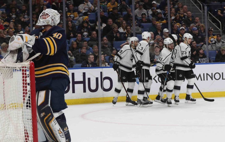 The Kings celebrated four times against Robin Lehner and the Sabres during the opening two periods. (James P. McCoy/Buffalo News)