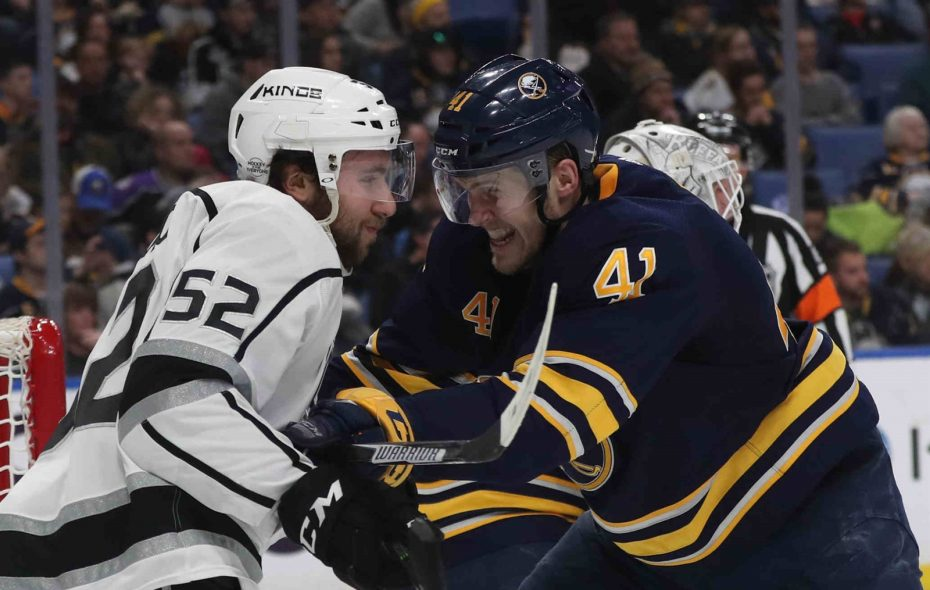 Aside from Justin Falk's shove on the Kings' Michael Amadio, the Sabres haven't had much pushback during afternoon games. (James P. McCoy/Buffalo News)