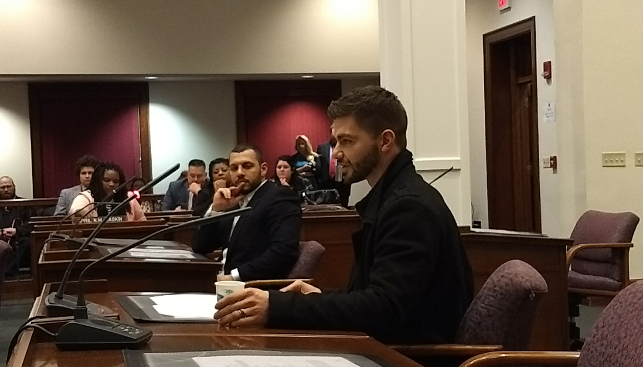 Bojidar 'Bobby' Kandar spoke before the Erie County Legislature to recount his negative experience with gay conversion therapy. (Sandra Tan/Buffalo News)