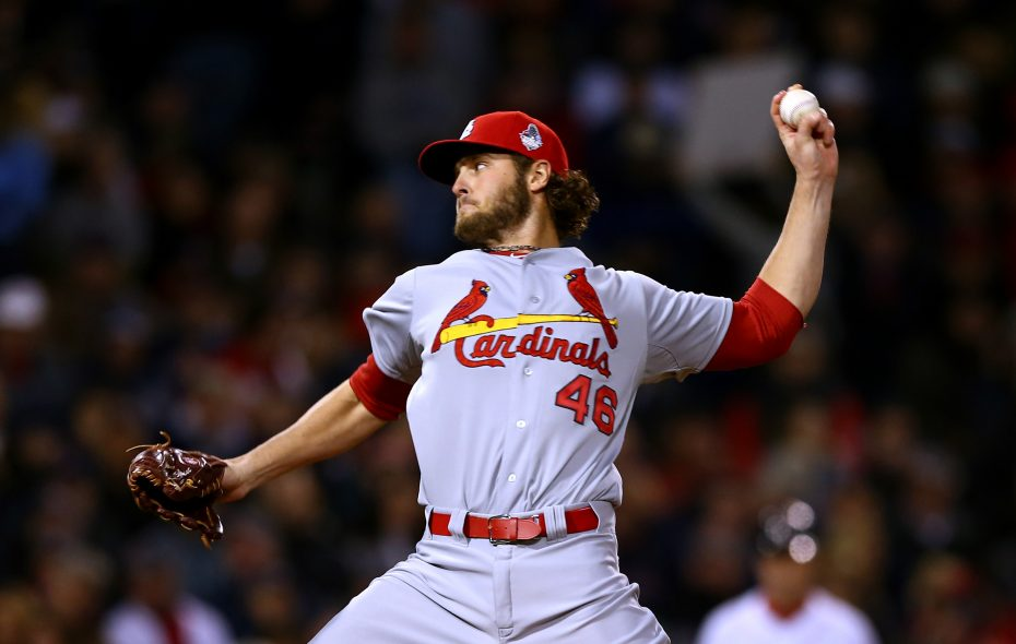 Kevin Siegrist works for the Cardinals against the Red Sox in Game 6 of the 2013 World Series at Fenway Park (Getty Images).
