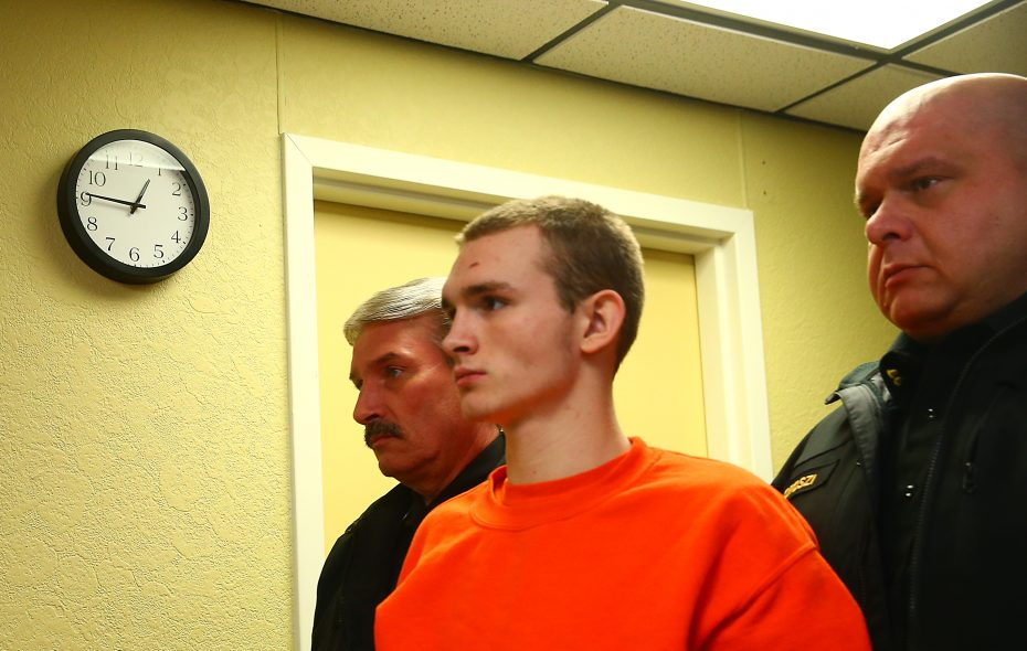 Devon VanDerwege, pictured at his arraignment in Marilla Town Court on March 16, 2017. VanDerwege pleaded guilty Monday morning to first-degree manslaughter in the death of 2-year-old Ethan Bigham. (John Hickey/Buffalo News)