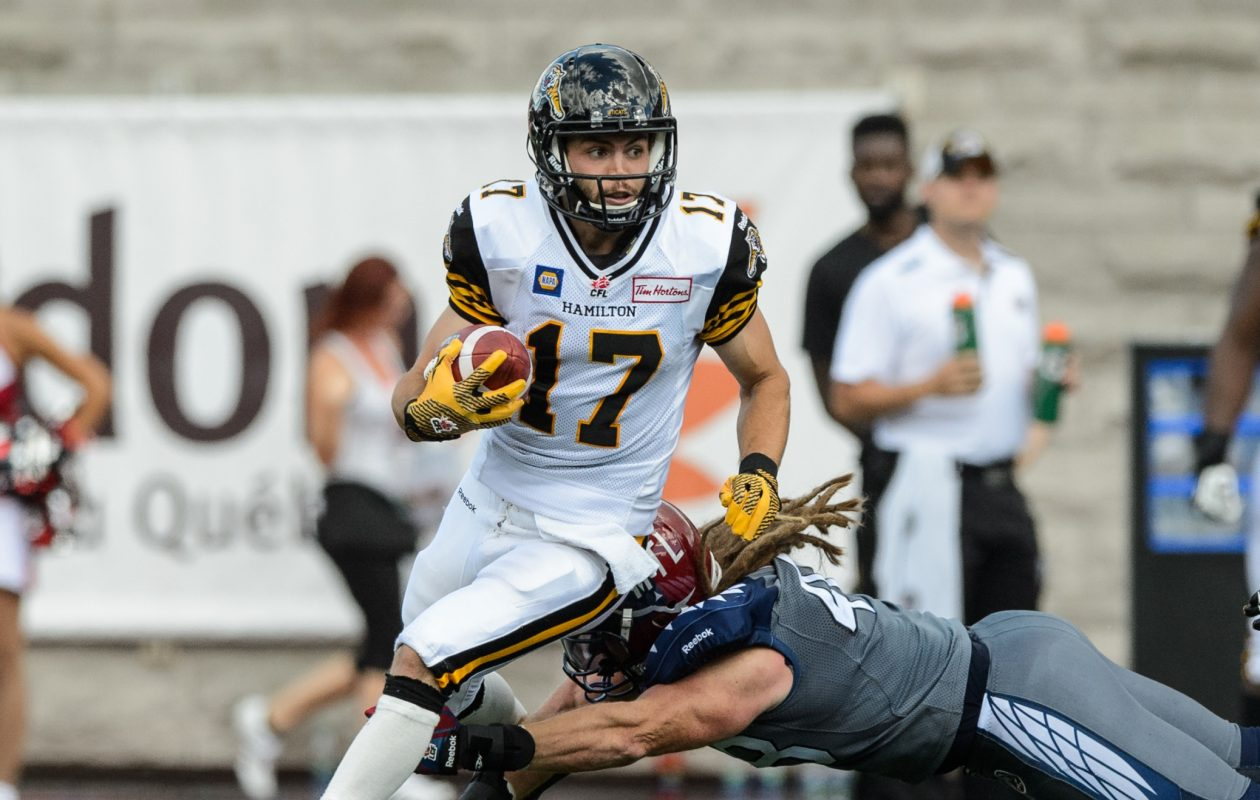 Luke Tasker has starred in the Canadian Football League with Hamilton for the past several seasons. (Getty Images)
