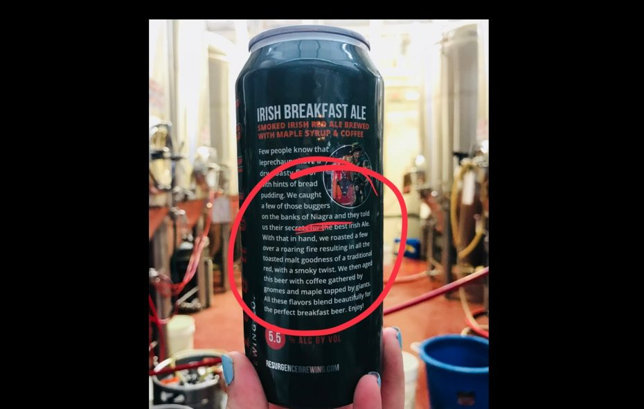 Return a Resurgence Brewing Irish Breakfast Ale can with a misspelling on the back for a prize. (via Resurgence)