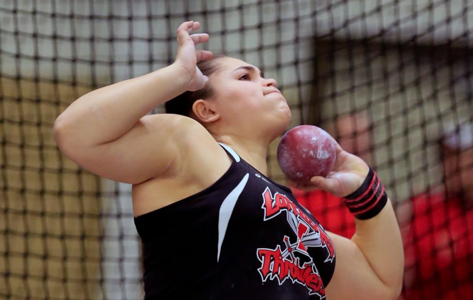 Lancaster freshman Natalia Surdej is one of the top weight throwers in New York State. (Harry Scull Jr./Buffalo News)