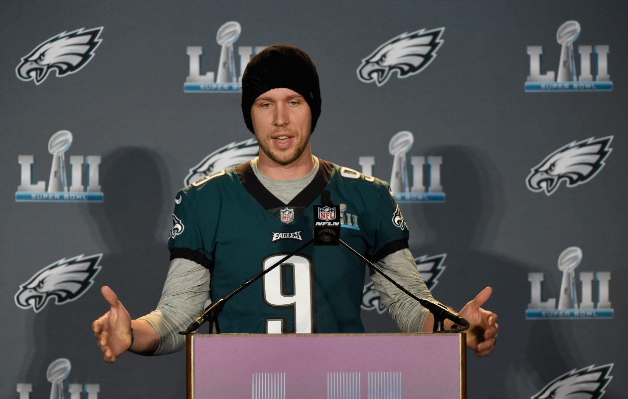 Nick Foles of the Philadelphia Eagles speaks to the media during Super Bowl LII media availability. (Getty Images)