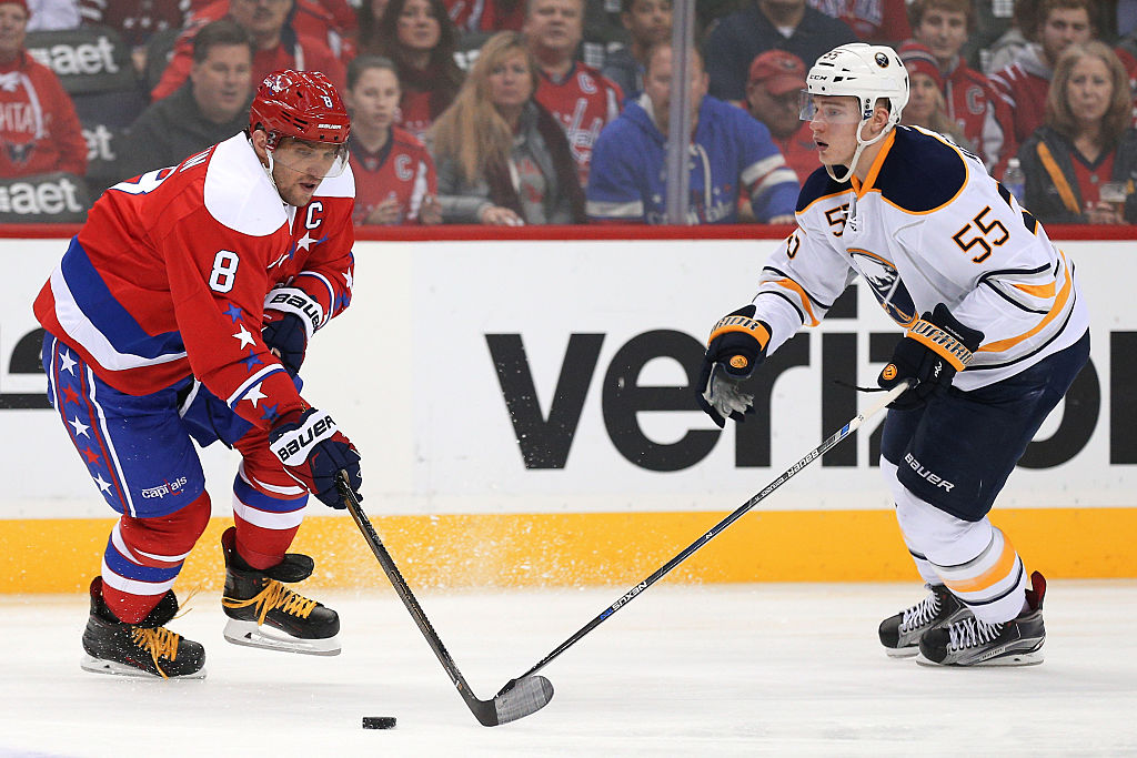 Rasmus Ristolanen (55) will have to keep close tabs on Alex Ovechkin, who has 44 points in 44 career games against the Sabres (Getty Images).
