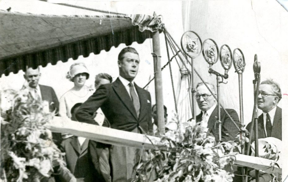 Then the Prince of Wales, King Edward VIII is pictured speaking at the dedication of the Peace Bridge on Aug. 7, 1927. At his right is John G. Reville, the former Buffalo detective chief. (News file photo)