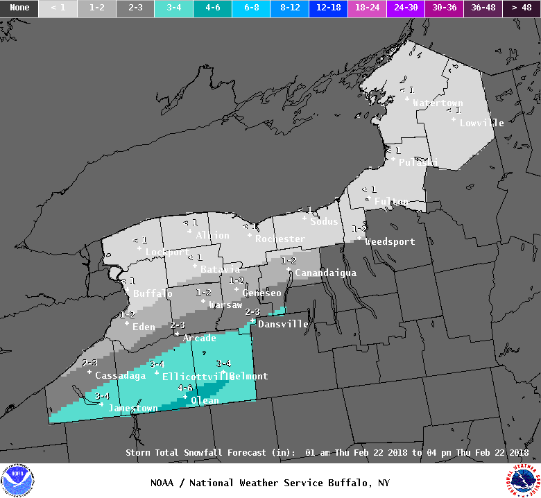 The heaviest snowfall is forecast near Olean. (National Weather Service)