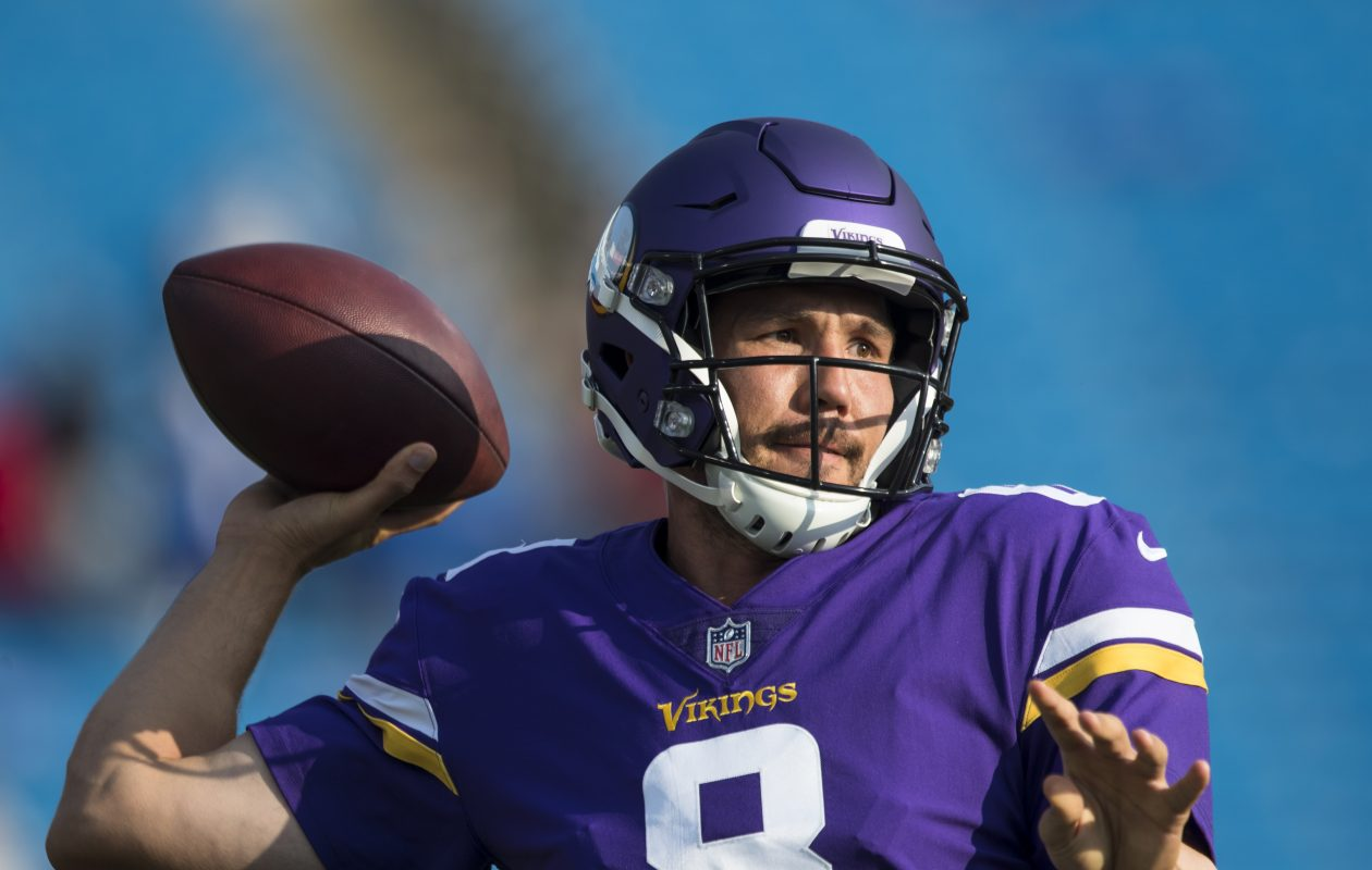 Vikings quarterback Sam Bradford warms up before a preseason game against the Bills at New Era Field last August.  (Getty Images)