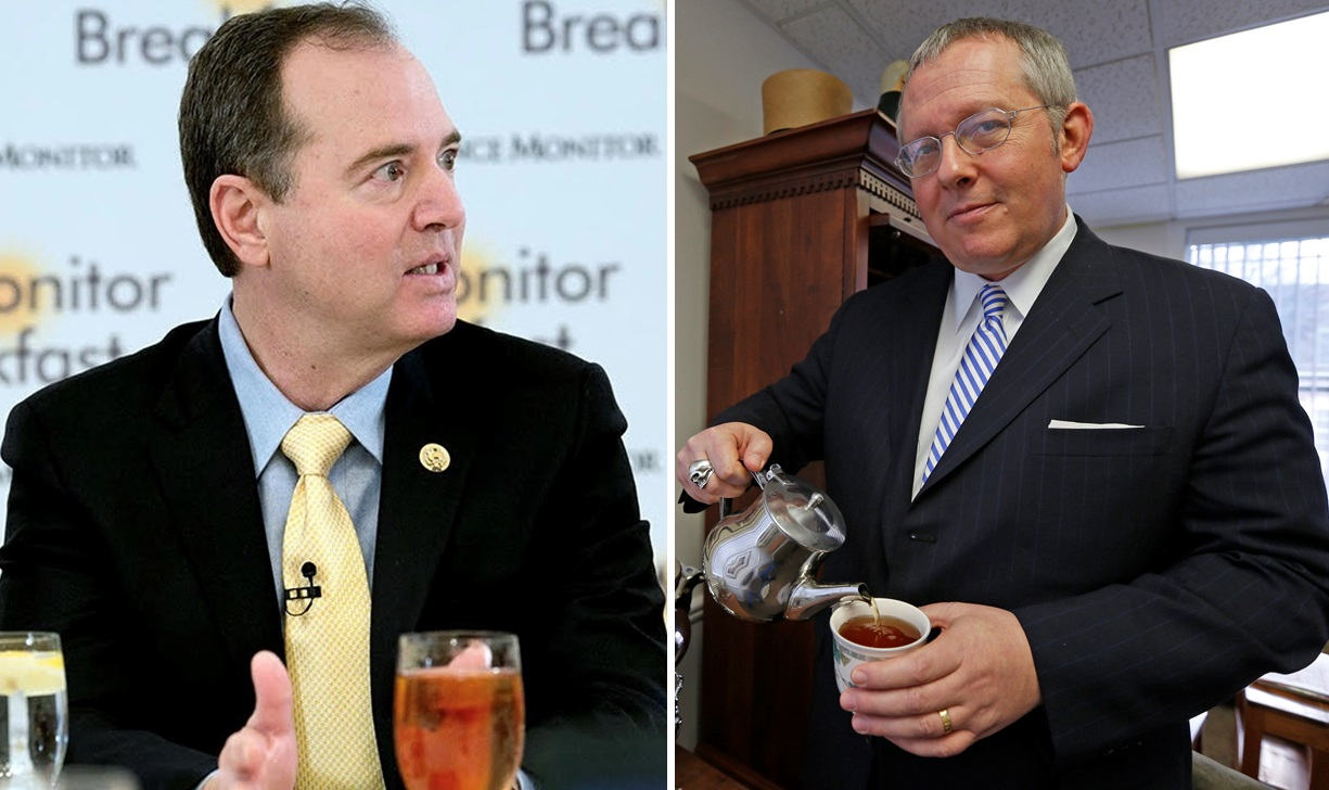 Rep. Adam Schiff, D-California, left, wants to see the testimony of political consultant Michael Caputo, right, released.