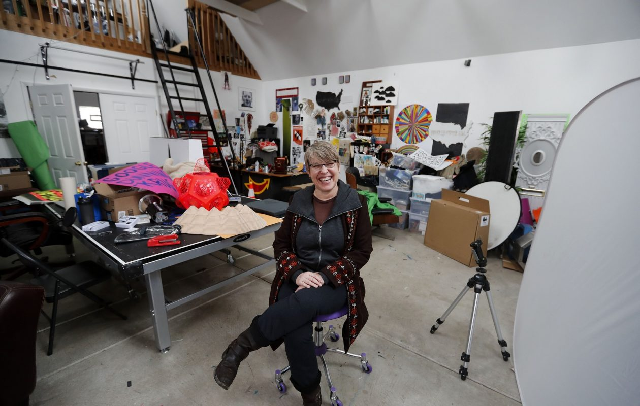 Artist Shasti O'Leary Soudant in her studio at her home in North Buffalo. (Mark Mulville/Buffalo News)