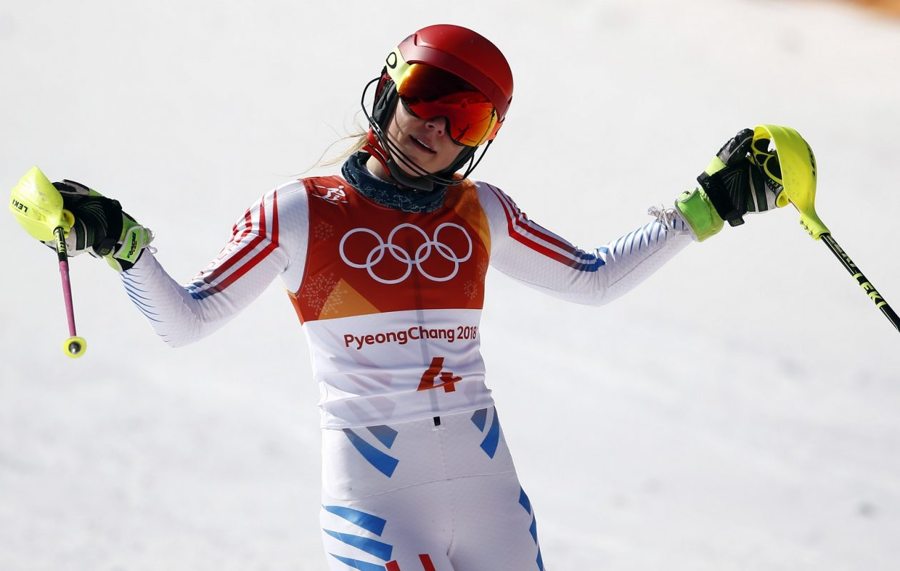 U.S. skier Mikaela Shiffrin reacts after a run in the 2018 Winter Olympics.  (Giovanni Auletta/Getty Images)
